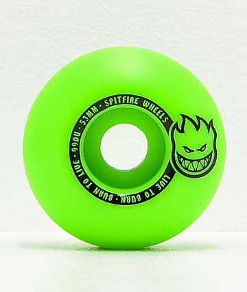 Spitfire Scorchers 53mm 99a Green & Black Skateboard Wheels