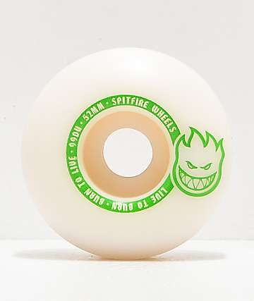 Spitfire Scorchers White & Green 52mm 99a Skateboard Wheels