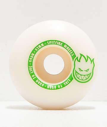 Spitfire Scorchers White & Green 52mm 99a Skateboard Wheels