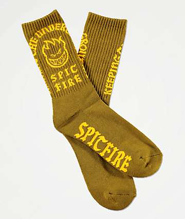 Spitfire Steady Rockin Olive & Yellow Crew Socks