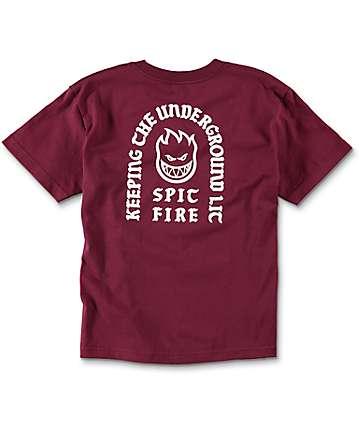 Spitfire Steady Rockin camiseta en color borgoño para niños