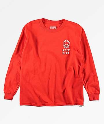 Spitfire Steady Rockin camiseta roja de manga larga para niños