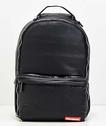 Sprayground Black Leather & Iridescent Cargo Backpack