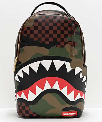 Sprayground Checkered Camo Shark Backpack