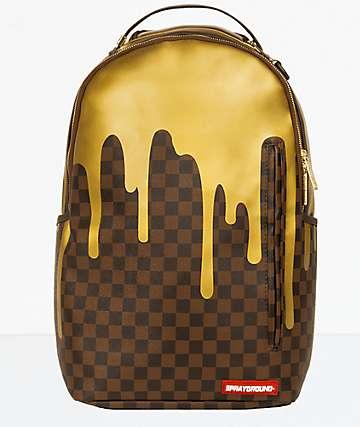 Sprayground Checkered Gold Drips Backpack