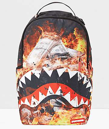 Sprayground Fire Money Shark Backpack