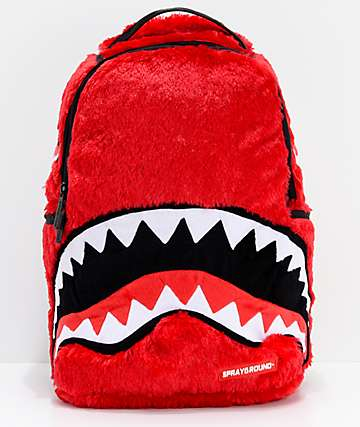Sprayground Fur Monster Shark Mouth Red Backpack