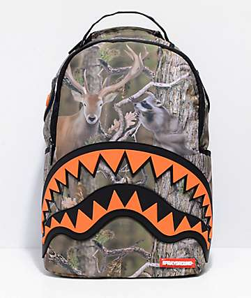 Sprayground Hunter Rubber Shark Camo & Orange Backpack
