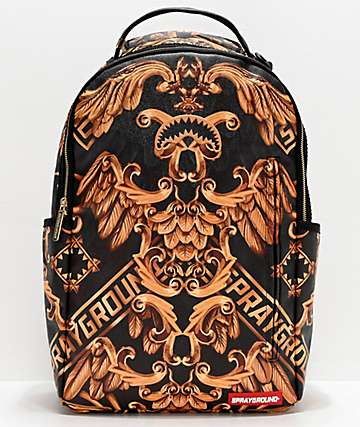 Sprayground Palace Of Sharks Black & Gold Backpack