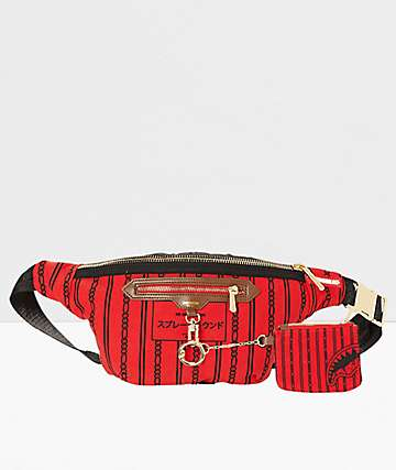 Sprayground Reverse Sharks In Paris Red Fanny Pack