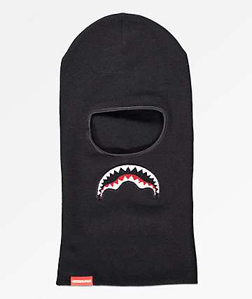 Sprayground Shark Drop Down pasamontañas negro