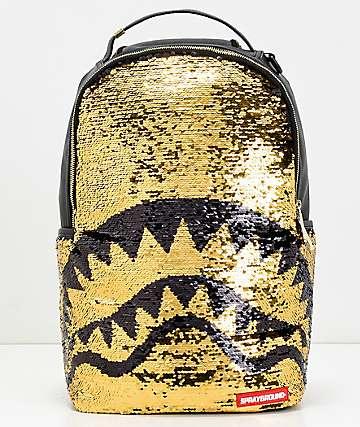 Sprayground Shark Mouth mochila con lentejuelas doradas