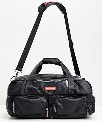 Sprayground bolso de viaje de cuero negro iridiscente