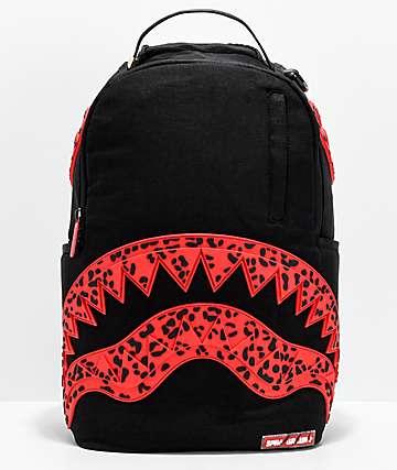 Sprayground mochila de boca de tiburón de leopardo rojo
