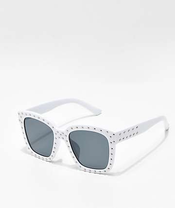 Sprinkle Square Lens White Sunglasses