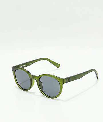 Spy Hi-Fi Matte Translucent Olive Green & Grey Sunglasses
