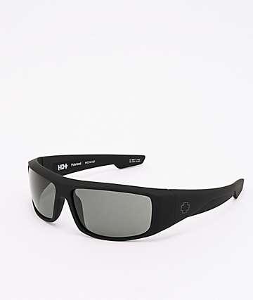 Spy Logan Matte Black & Grey Green Sunglasses