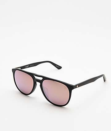 Spy Syndicate Matte Black & Rose Bronze Happy Lens Sunglasses