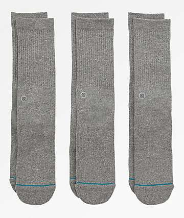 Stance 3 Pack Icon Grey Crew Socks