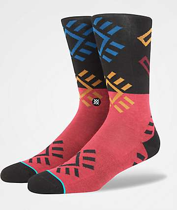 Stance Black Rock Black & Red Crew Socks