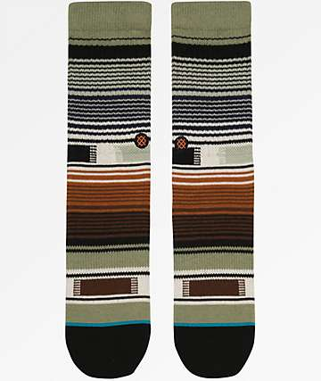 Stance Boys Hatchets Brown & Olive Green Striped Crew Socks