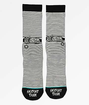 Stance Eye x Sketchy Tank Spy Black & White Crew Socks