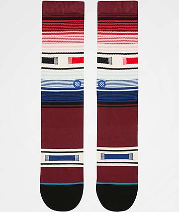 Stance Hatchets Burgundy Striped Crew Socks