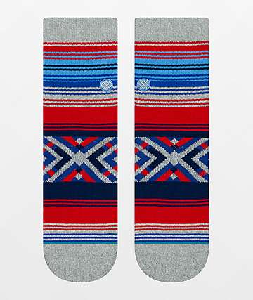 Stance Roo QTR Red, Grey & Blue Ankle Socks