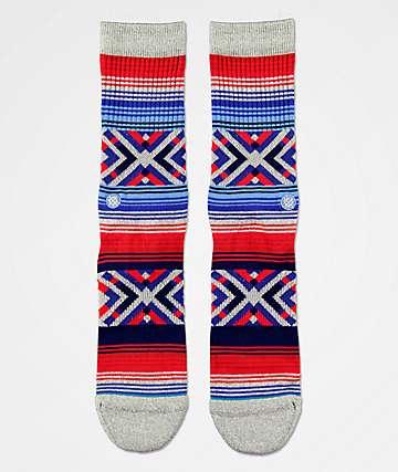 Stance Roo Red, Grey & Blue Crew Socks