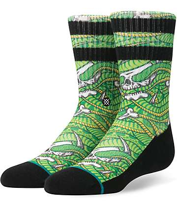 Stance Snakes N Bones Boys Green Crew Socks