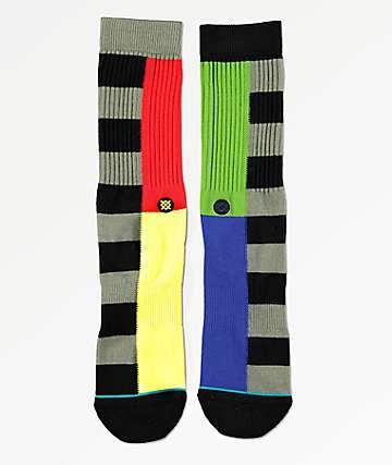 Stance Split Checker Black Crew Socks