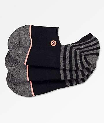 Stance Uncommon paquete de 3 calcetines invisibles negros