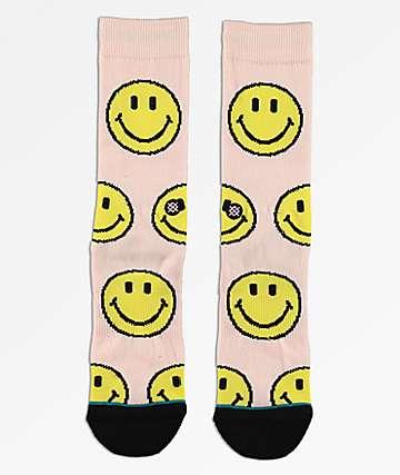 Stance X Chinatown Market Smile Pink & Yellow Crew Socks