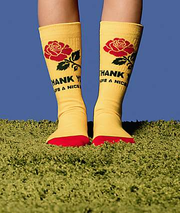 Stance X Chinatown Market Thanks Rose calcetines amarillos y rojos
