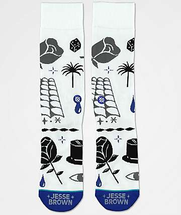 Stance x DROPOUT CLUB INTL. Knife Show Jesse Brown White Crew Socks