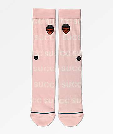 Stance x SUCC Embroidered Mayo Pink Crew Socks