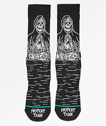 Stance x Sketchy Tank Reaper Greeter Black Crew Socks