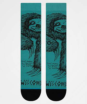 Stance x Welcome Love Aside Green Crew Socks