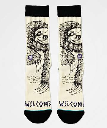 Stance x Welcome Love Aside White & Black Crew Socks
