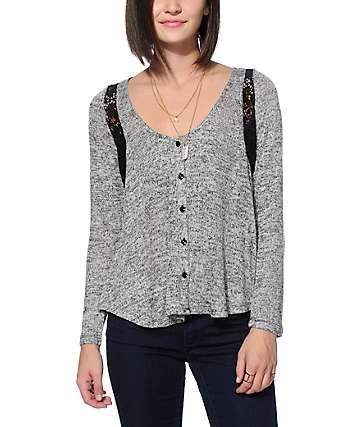 Starling Black Speckle & Crochet Sweater