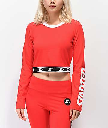 Starter Fitted Crop Red Long Sleeve T-Shirt