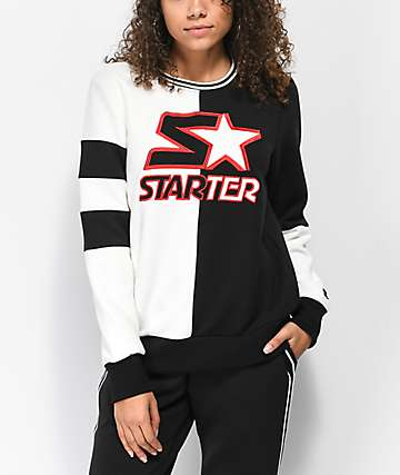 Starter Fly Girl Black & White Colorblocked Crew Neck Sweatshirt