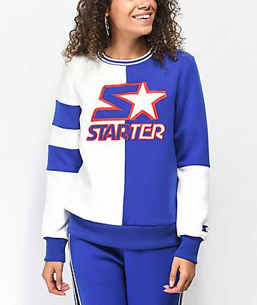 Starter Fly Girl Cobalt & White Colorblocked Crew Neck Sweatshirt