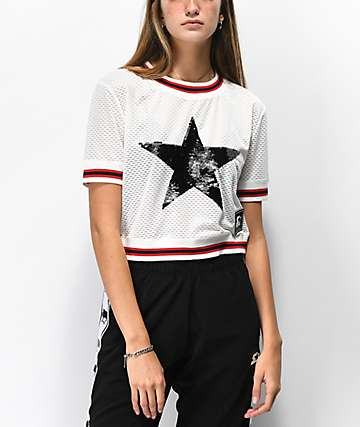 Starter Star Mesh White Crop Jersey Top