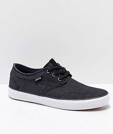 State Bishop Black & White Denim Skate Shoes