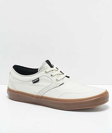 State Bishop Cream & Gum Canvas Skate Shoes