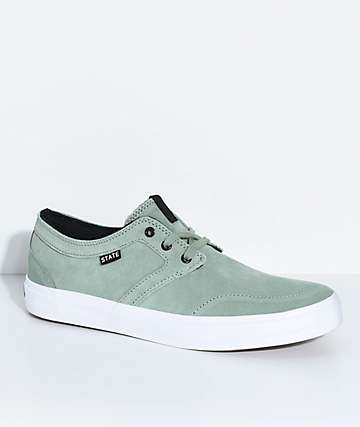State Bishop Mint & White Suede Skate Shoes