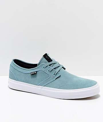 State Bishop zapatos de skate de ante aqua y blanco