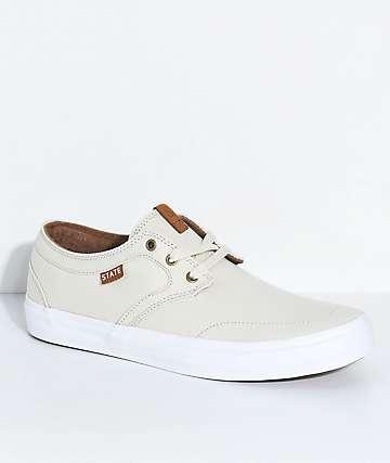 State Bishop zapatos de skate de lienzo blanquecino