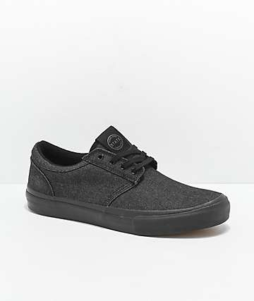 State Elgin Black Denim & Black Skateboard Shoes